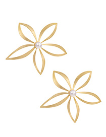 Fashion Sub-gold Alloy Pearl Hollow Flower Stud Earrings