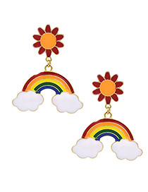 Fashion Color Alloy Dripping Rainbow Cloud Stud Earrings