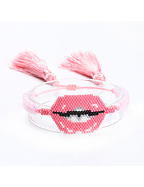 Fashion Pink Hand-knitted Lips Fringed Bracelet
