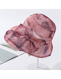 Fashion 9540 Skin Red Bow-knit Pearl Mesh Contrast Hat