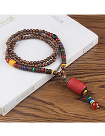 Fashion Red Plastic Cylindrical Wooden Beads Long Sweater Chain
