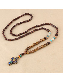 Fashion Brown Cross Wooden Beads Long Sweater Chain