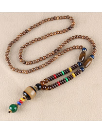 Fashion Brown Plastic Wooden Beads Wooden Beads Long Chain