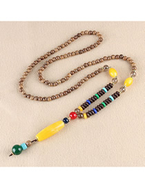 Fashion Yellow Plastic Cylindrical Wooden Beads Long Necklace