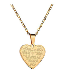 Fashion Golden Bible Verse Cross Stainless Steel Necklace