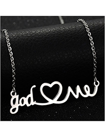 Fashion Steel Color Letter Love Hollow Couple Stainless Steel Necklace