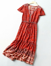 Fashion Red Cashew Man Cotton Printed V-neck Belt Dress
