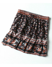 Fashion Black Printed Elastic Waist Panel Skirt