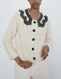 Fashion Creamy-white Wool And Mohair Baby Face Patch Button Down Coat