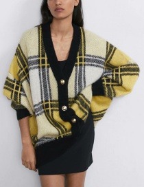 Fashion Yellow Plaid Loose V-neck Knitted Cardigan