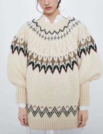 Fashion Beige Jacquard Panel Crew Neck Sweater