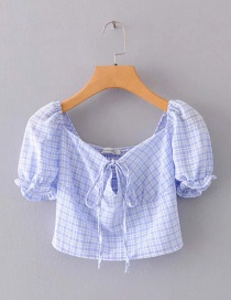 Fashion Blue Checked Tie Strap Short Funnel Top
