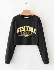 Fashion Black Letter Print Round Neck Sweater