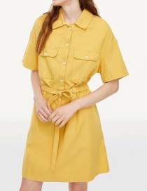 Fashion Yellow Tie Bow Shirt Dress