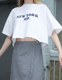 Fashion White Letter Print T-shirt Loose