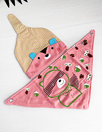 Fashion Pink Children's Cartoon Hat Bib Suit