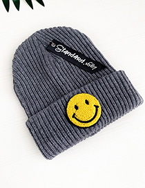 Fashion Gray Smile Knitted Hats For Children