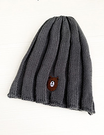 Fashion Gray Knitted Hats Bear
