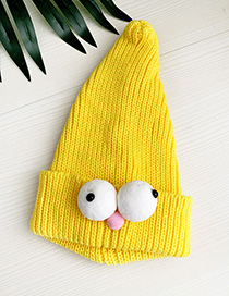 Fashion Yellow Children's Knitted Hat With Big Eyes