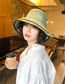 Fashion Aqua Green Cotton Stitching Contrast-layer Stacked Fisherman Hat