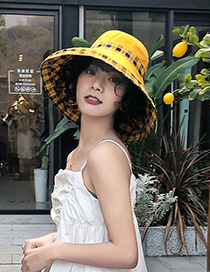 Fashion Yellow Double-sided Wear Plaid Hat