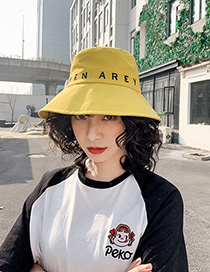 Fashion Yellow Embroidered Fisherman Hat