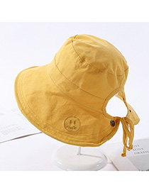 Fashion Yellow Double-sided Embroidery Hat Smiling Face Wearing A Bandage