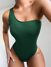 Fashion Green One Shoulder Striped One Piece Swimsuit