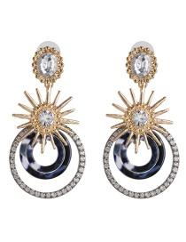 Fashion Black Acrylic Geometric Circle Diamond Earrings Star