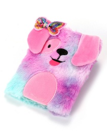 Fashion Violet Plush Dog Bow Sequin Stitching Gradient Notebook