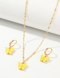 Fashion Yellow Geometric Resin Butterfly Necklace Earring Set