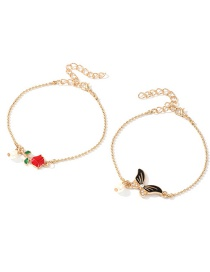 Fashion Color Alloy Drop Oil Butterfly Butterfly Bracelet Set