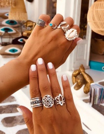 Fashion Silver Alloy Set Shell Geometric Openwork Ring Set