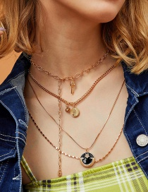 Fashion Golden Key Eye Dripping Moon Multilayer Necklace With Diamonds