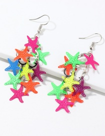 Fashion Color Hollow Starfish Print Earrings