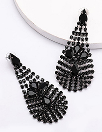 Fashion Black Multilayer Mesh Pierced Earrings With Diamonds