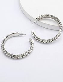 Fashion White Hoop Multilayer Diamond C-shaped Earrings