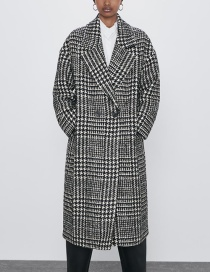 Fashion Houndstooth Houndstooth Lapel Button-down Coat Coat