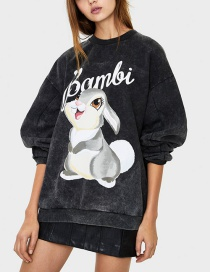 Fashion Black Bambi Letter Print Crew Neck Sweatshirt