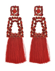 Fashion Red Alloy Rhinestone Geometric Tassel Stud Earrings