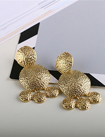 Fashion Golden Brilliant Gold Turtle Geometric Round Stud Earrings