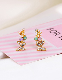 Fashion Color Diamond Butterfly Flower Earrings With Diamonds