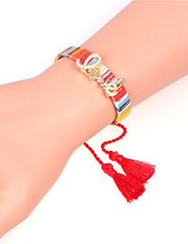 Fashion Red Braided Tassel And Diamond Alphabet Bracelet