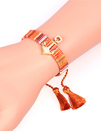 Fashion Brown Micro Inlaid Zircon Anchor Fringe Bracelet