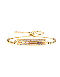 Fashion Color I-shaped Micro-inlaid Zircon Adjustable Bracelet