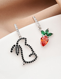 Fashion Silver Rabbit And Carrot Asymmetric Earrings With Crystals And Diamonds
