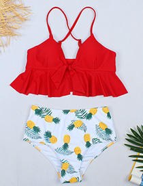Fashion Red Top + Flower Pants Ruffled Chest Knot Pineapple Print High Waist Split Swimsuit