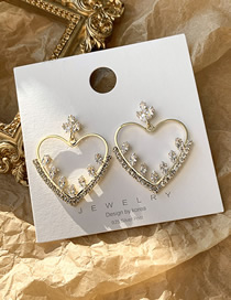Fashion Golden Openwork Heart Love Diamond Earrings