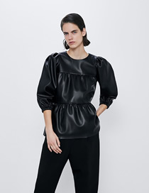 Fashion Black Laminated Faux Leather Top