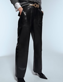 Fashion Black Straight Trousers With Large Faux Leather Pockets